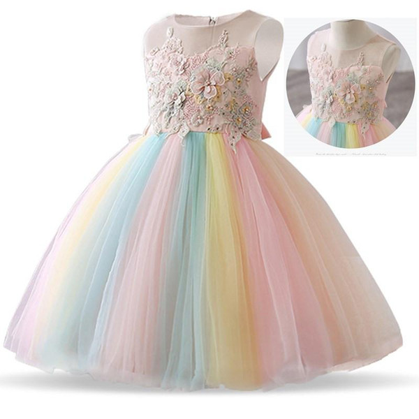 Flower Dresses for Girls Dress Lace Emboridery Rainbow Baby Girl Wedding Gown Party Frocks Vestidos Children Clothing