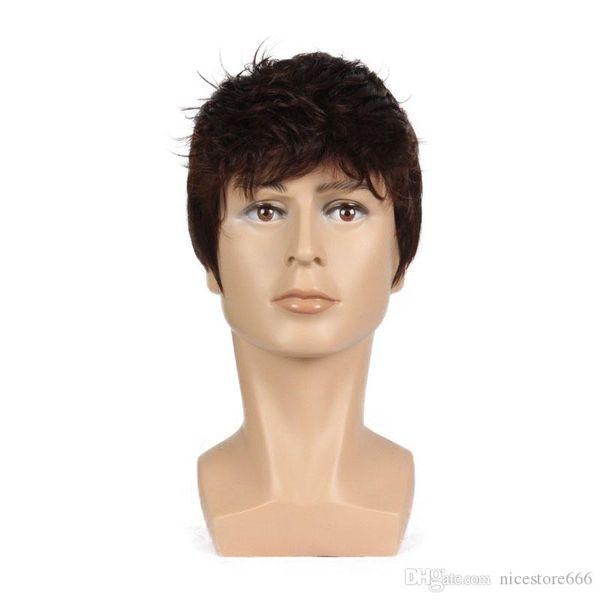 6 pouces à court Striaght pleine perruque synthétique pour hommes Homme cheveux fleeciness réaliste Brown Natural Mix pleine Perruques
