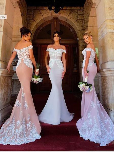 2019 Lace Mermaid Bridesmaid Dresses Off Shoulder Applique Long Floor Length Wedding Guest Gowns Maid of Honor Dresses