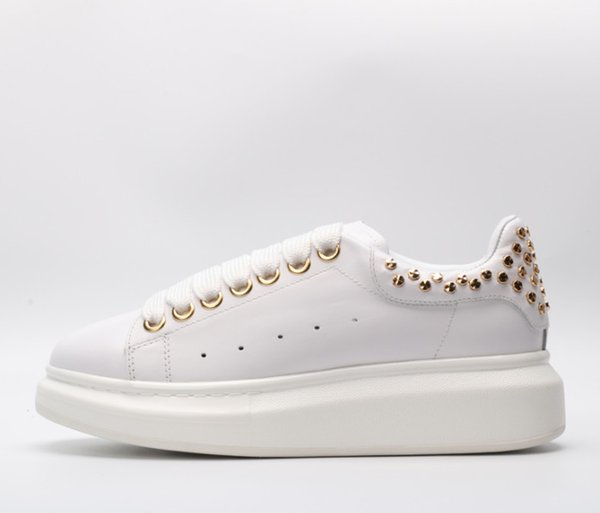 2019 Cheap women's men's designer sneakers fashion classic leather lace-up shoes mix and match fashion popular designer sneakers white