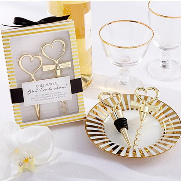 Wholesale-120pcs=60Sets/lot Gold Cheers to a Great Combination Wine Set Heart Wine Stopper Corkscrew Wedding Favors Party Gifts Free Ship