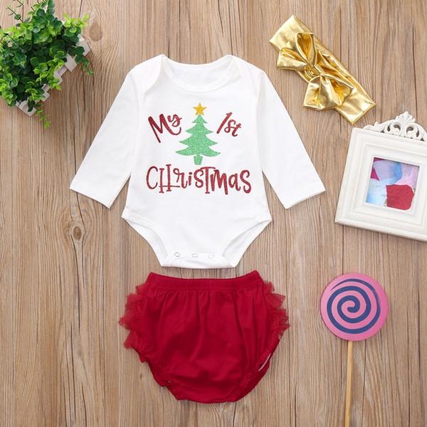 Buena calidad 2019 Moda niños ropa niñas ropa de Navidad conjunto 3 UNIDS Carta Imprimir Romper + Shorts + Diadema niños ropa de invierno