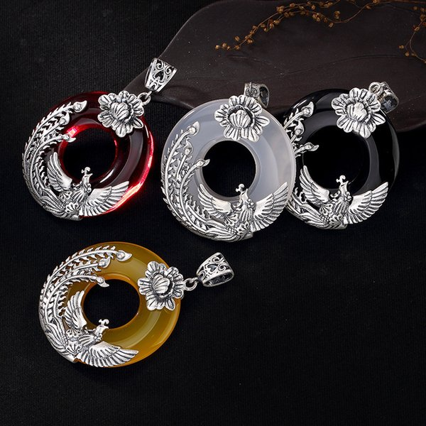S990 fine silver phoenix peony and restoring ancient ways ms chalcedony pendant chain silver long sweater