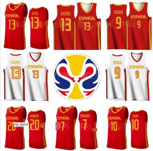 2019 Copa Mundial de baloncesto de España Equipo Espana jerseys 10 Víctor Claver 1 Quino Colom 18 Pierre Oriola 22 Xavier Rabaseda Sergio Llull Beiran