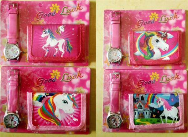 2 unids / lote Unicornio Monederos + Reloj Set Girls Wallet Fold Bolsas de Bolsillo Rosa Rosa de Dibujos Animados Organizador de Almacenamiento de Papelería Bolsa Niños monedero