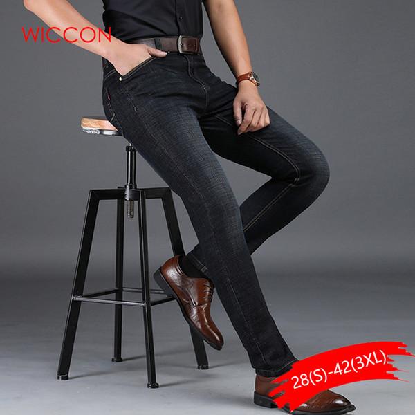 Plus Size Homem Calça Jeans de Alta Estiramento Em Linha Reta Longo Magro Calças Moda Casual Denim Preto Masculino Negócio Jeanswear