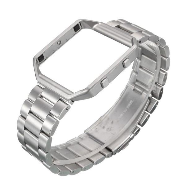 Edelstahl-Metallrahmen + Ersatzband für Fitbit Blaze, Silber
