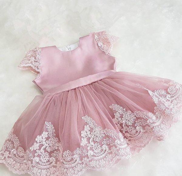 Infant Baptism Flower Girl Dresses Children Dress Big Bow Party Summer Princess Baby Girl Wedding 1 Year Birthday Dress Birthday Y19061101