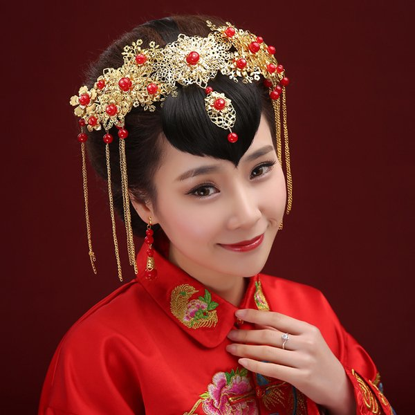 A piece Chinese traditional women fashion hair crown vintage jewelry bride wedding hairpin band flower festival gift