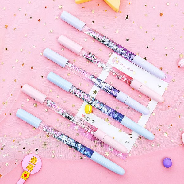 Neueste Kristall Drift Sand Glitter Gel Stift Kreative Bunte Blitzlicht Stifte Für Schreiben Mädchen Geschenk Schule Suppleis Papeterie