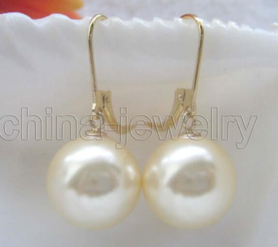 Mariage parfait pour les femmes 14mm jaune parfait rond sud boucle d'oreille en nacre de perles de mer - rempli de boucles d'oreilles argent-bijoux
