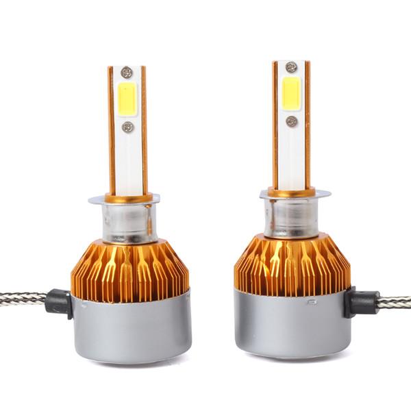 DC C6 LED Headlight Bulbs Conversion Kit -H1 H3 H7 H11 H13 9004/HB1 9005/H10/HB3 9006/HB4 9007/HB5 8000lm 6.5K Cool White gold