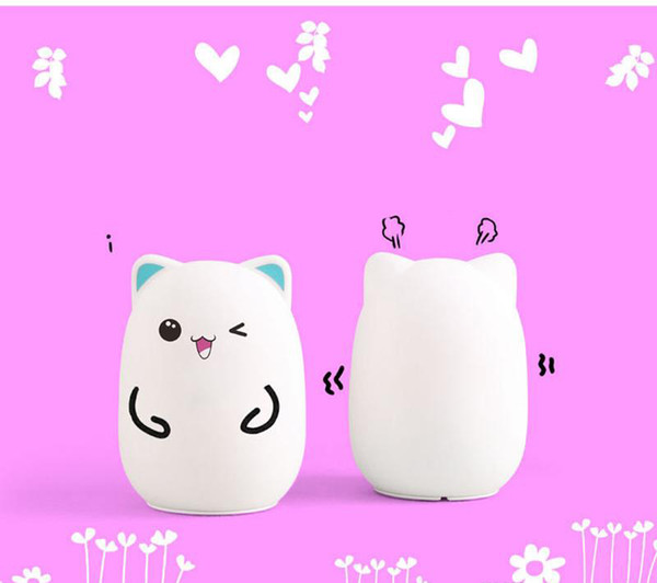 top popular Colorful Silicone Soft USB Rechargeable Animal Night Light Cute Cat Table Lamp Adults Children Baby Bedroom LED Light Nursery Night LampSell 2021