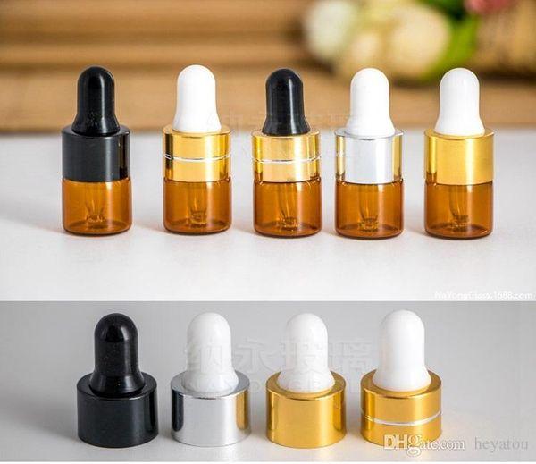 Frasco gotero de ámbar 1 ml 2 ml 3 ml 100 unids Mini botella de vidrio Aceite esencial Exhibición Vial Pequeño suero Perfume Color ámbar