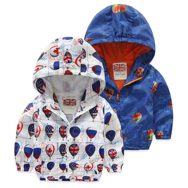 2018 Мода дети куртки с капюшоном мультфильм печатных Куртка для мальчиков 2-6 лет дети верхняя одежда пальто мальчиков ветровка одежда