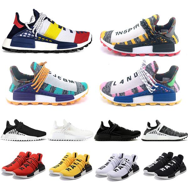 İnsan Yarışı Erkekler Kadınlar Koşu Ayakkabıları Pharrell Williams HU Koşucu Beyaz Siyah Sarı Kırmızı Yeşil Gri Mavi Spor Sneaker Boyutu 36-47 Satış Çevrimiçi