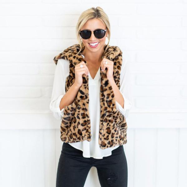 women vest winter warm hoodie open stitch outwear casual cardigan coat faux fur zip up leopard jacket female