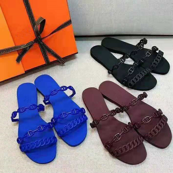 Women brand Summer Rivage Jelly Rubber sandals Girls Flio Flops Slide size EUR35-39 black blue Brown Red With Box Dust Bags Free Shipping