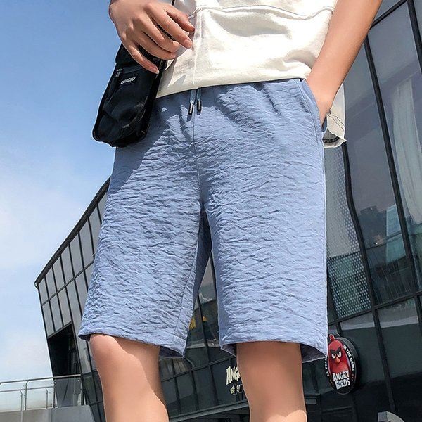 2019 Summer Lightweight Mens Shorts Solid Pleated Casual Short Pants Boys High Quality Breathable Soft Knee Length Shorts Men