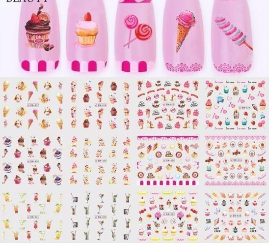 Full Beauty 12 Design Nail Water Transfer Sticker Set Cake Ice Cream Design Decal For Art Decor Slider Foils Chbn817-828