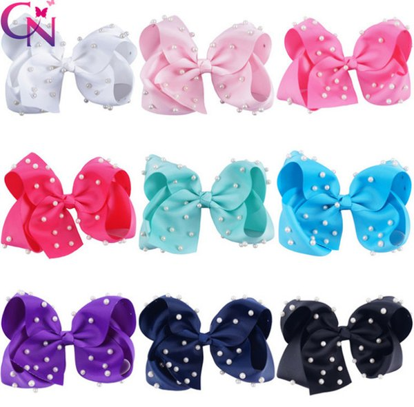 6 Inch Bows girls hair clip kids pearls beaded Bows princess hairpins valentine's day child ribbon grosgrain Bowknot party barrettes F3134