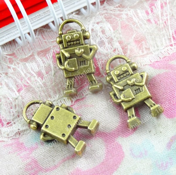 50pcs 17*9.7MM Fashion alloy antique bronze tibetan robot charms for bracelet vintage metal pendants earring handmade DIY jewelry making