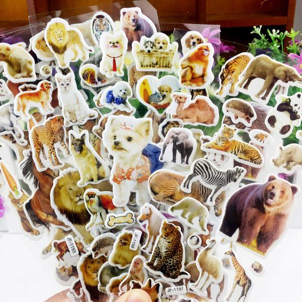 100 pzas Animales salvajes Parque Safari Animales Scrapbooking Burbuja Hinchadas Pegatinas Kawaii Emoji Recompensa Juguetes para niños Ventas directas de fábrica