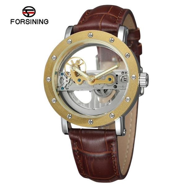 Forsining Male Leather Band Mechanical Reloj Hombre Mens Watch Luxury Transparent Hollow Skeleton Automatic Clock Man Watch SLZe14