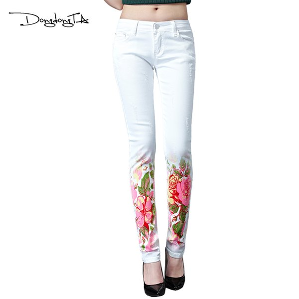 Dongdongta New Women 2017 Fashion Jeans Original Design Summer Skinny Mid Waist Full Length Pencil Pants Painted Washed Jeans