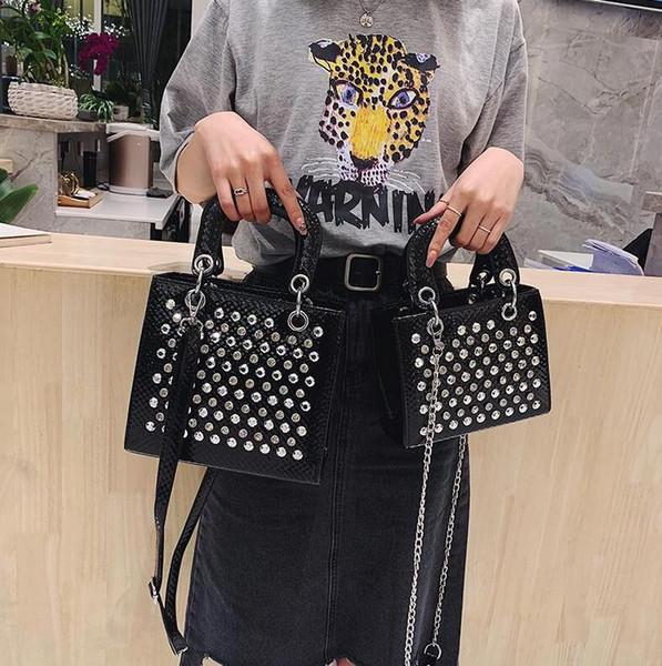Фабрика аутлет бренд женская сумка сладкий иностранный стиль алмазная сумка модная контрастная кожаная сумка уличная тенденция заклепки Цепная сумка