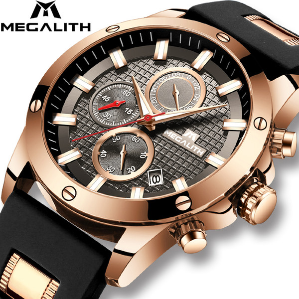 Megalith Fashion Chronograph Men Watches Date Silicone Strap Sports Quartz Watch Men Luminous Waterproof Clock Relogio Masculino Y19052103