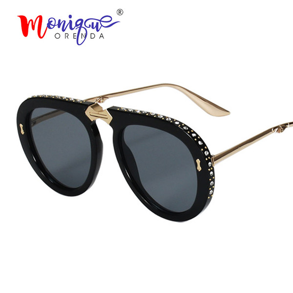 Vintage folding pilot sunglasses women luxury crystal brand oversize clear eyeglasses sun glasses men shades oculos de sol