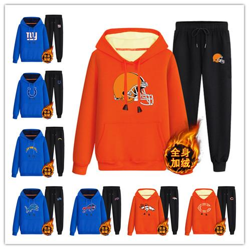 2018 new hot men's Hooded Top Pants and Velvet Set Giants Bills Bears Browns Broncos Lions Colts Chargers