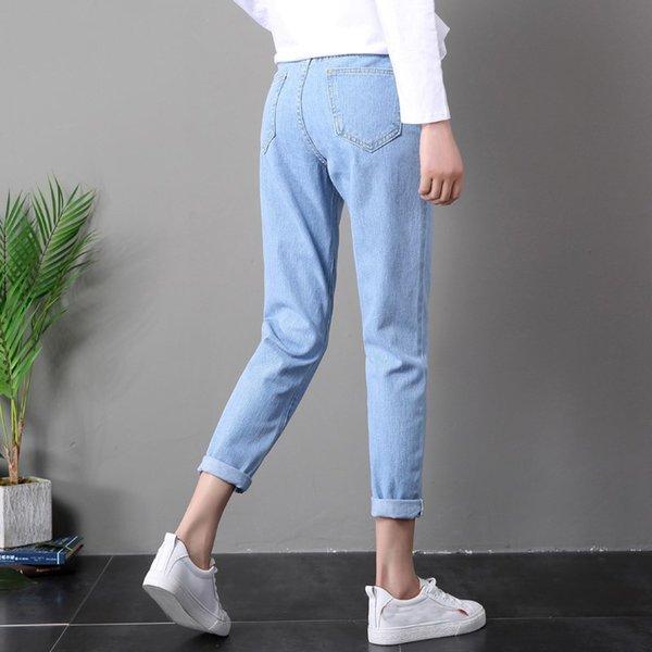 950e985227c1 2019 Inverno Sólida Lavar O Namorado Feminino Jeans De Cintura Alta Para Calças  Lápis Calças de Brim Denim Mãe Calças Compridas Mulher Plus Size 25-32