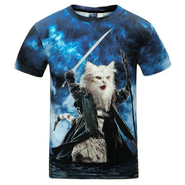 3D T shirts New Fashion Men women 19SS short sleeve digital print holding sword cat general summer tees slim tops t shirt