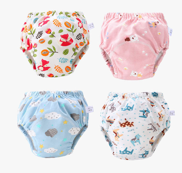 best selling 23 Colors Baby Diaper Cartoon Print Toddler Training Pants 6 Layers Cotton Changing Nappy Infant Washable Cloth Diaper Panties Reusable M795