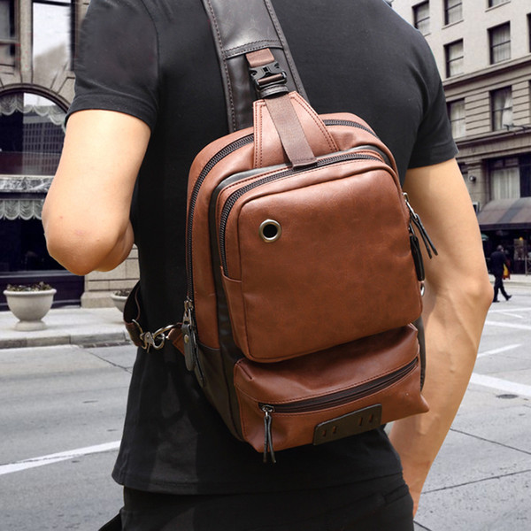 Vintage Pu Leather Men Chest Backbag Casual Fashion Male Messenger Bags Back Pack Crossbody Bags Small Sling Single Shoulder Bag Y19061102
