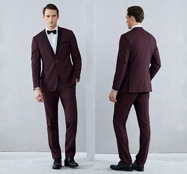 Châle claret mens costumes smokings mariée mariage costume formel smokings hommes bourgogne noir et rouge vestes (veste + pantalon + noeud papillon)