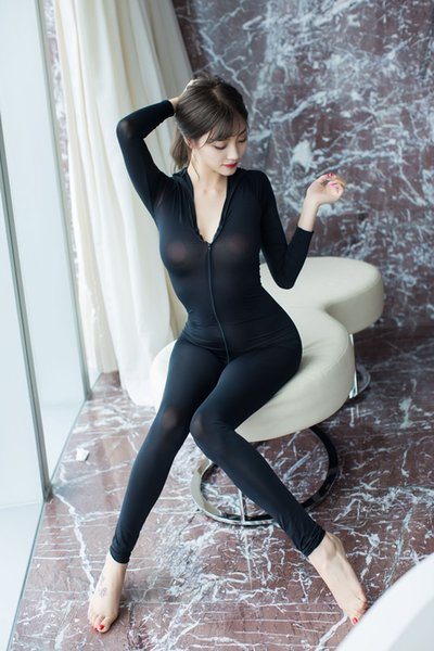 Womens Jumpsuit Lingerie Ultra-thin Sexy Transparent Underwear Bustiers Corsets Vetement Femme Double-headed Zipper Body Suits Wholesale