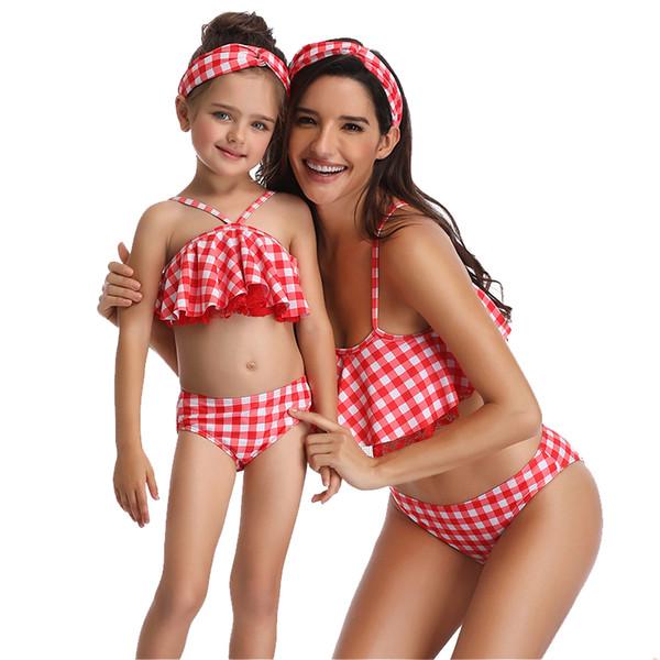 Ebeveyn-çocuk Mayolar Kadın Bikini Anne Kızı Mayolar Desen Çiçek Katı Baskılı Kareli Tankini Siyam Fırfır Yaprakları Çiçek 23
