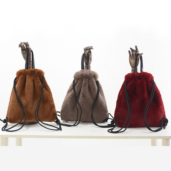 Streetwear Faux Fur Backpack Women Mini Plush Ladies Hand Bags Chic Leopard  Soft Rabbit Fur Women Backpacks dd02fac4ea9c3