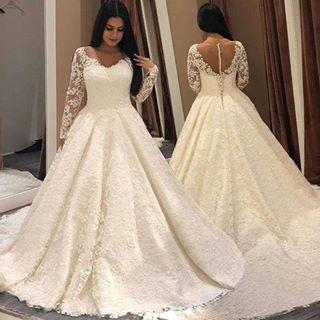 Discount Custom Made Lace A Line Wedding Dresses 2019 With Long Sleeves  Sweep Train Plus Size Vestiods De Novia Bridal Gowns For Garden County ...