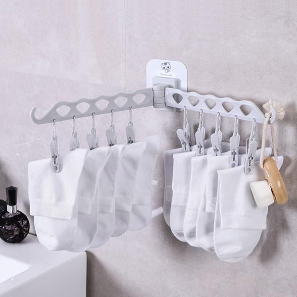Ev Için multi-fonksiyonel Elbise Askısı Banyo Mutfak Çorap Raf 10 Klip Yapışkan Duvar Askı Katlanır Kurutma Raf İç p