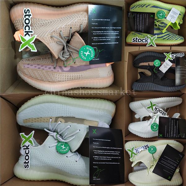 {Kutu ile} Stok X Etiketi Makbuz Kil Hiper uzay Tereyağı Üçlü Beyaz Oreo Erkek Koşu Ayakkabıları Kante West Womens Eğitmenler Spor Sneakers Bize 13