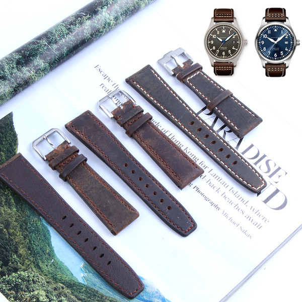 22mm Retro Calf Horse Leather for IWC Big Pilot Watch Man Watch Band Strap Watchband Bracelet Deep Brown Man with Tools