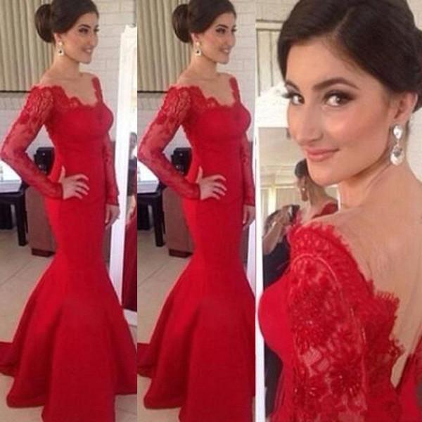 2019 New Red Evening Dress V Neck Lace Long Transparent Sleeve Mermaid Backless Floor-Length Cheap Prom Dresses vestidos de fiesta
