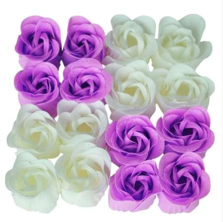 16 Pcs Handmade Rose Scented Bath Soap Petals White Purple