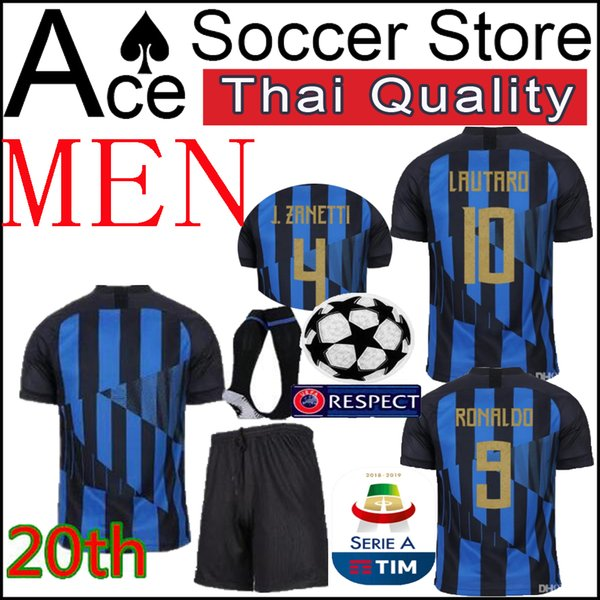 Inter MEN SET Milan 20. Fußball Jersey Jubiläum 9 ICARDI 10 L.MARTINEZ 11 VECINO 44 PERISIC 37 SKRINIAR Kit für Erwachsene Fußballuniform