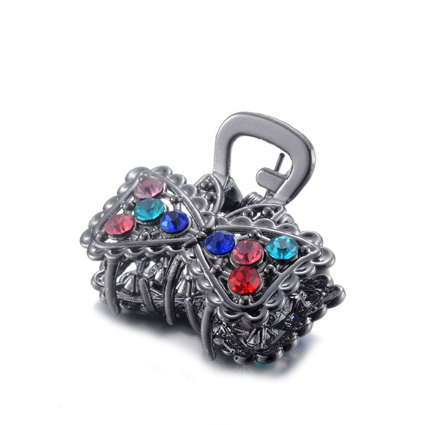 Small Metal Hair Women Vintage Hair Jewelry Colorful Rhinestone Crystal Butterfly Crab Clip Ornaments Girls Best Gifts Hot