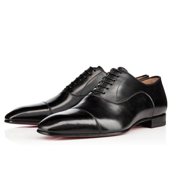 Vestido de boda elegante fiesta de negocios Greggo Orlato plana, zapatos Oxfords de fondo rojo de moda al aire libre Hombres zapatos para caminar ocasionales